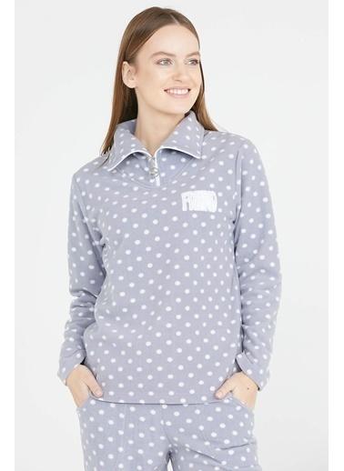 Sementa Puantiye Desen Polar Pijama Takımı - Gri Gri